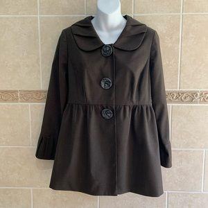 Brown Wool Blend Babydoll Jacket